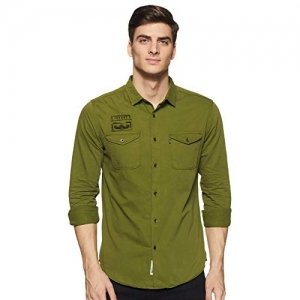 Amazon Brand - Inkast Denim Co. Green Cotton Plain Denim Shirt