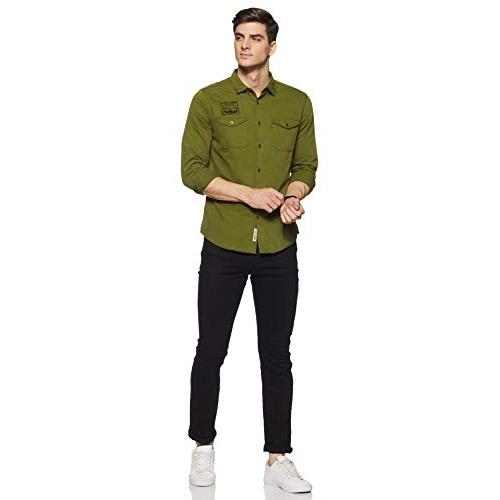 Amazon Brand - Inkast Denim Co. Green Cotton Plain Denim Shirt