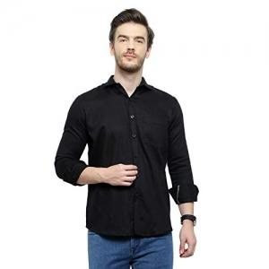 Latest Chikan Men's Black Plain Casual Shirt