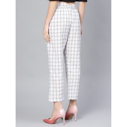 tie front checkered trouser