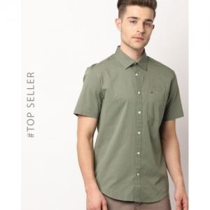 Tommy Hilfiger Olive Cotton Plain Casual Shirt