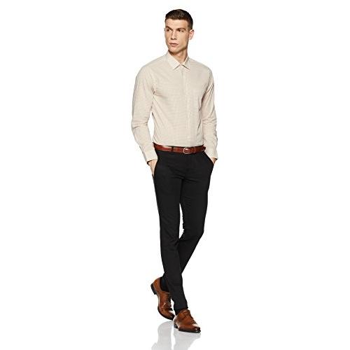 Diverse Beige Cotton Chekered Formal Shirt