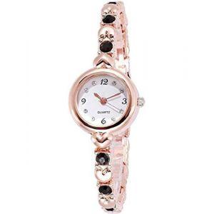 Talgo Stylish Designer Rosegold and Black Diamond Color Wrist Analog Watch for Women & Girls