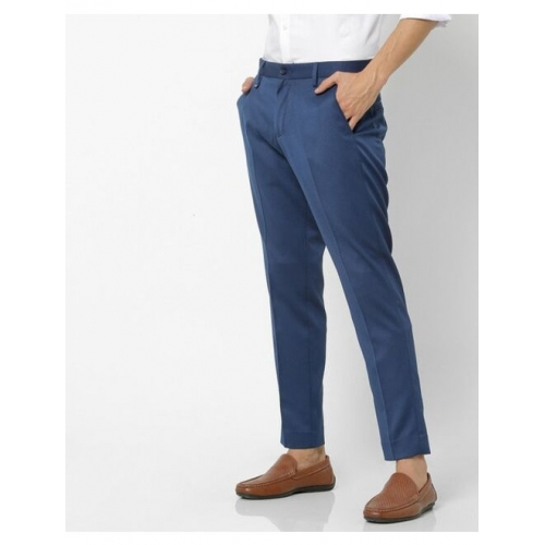 Textured Slim Fit Trousers with Insert Pockets