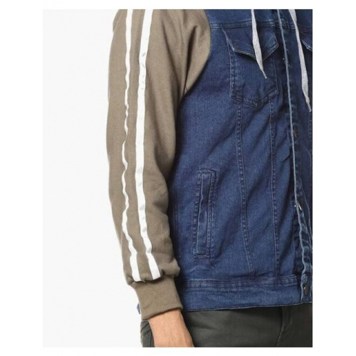 Campus Sutra Denim Button-Front Hooded Jacket