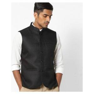 Woven Nehru Jacket with Welt Pockets
