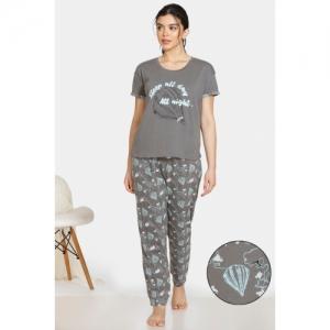 Zivame Grey Cotton Short Sleeves Printed Night Suit Set