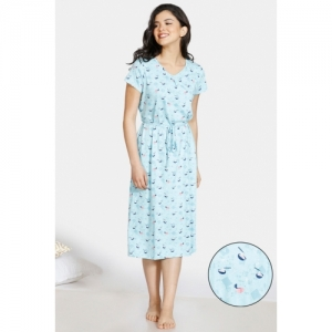 Zivame Sky Blue Cotton Mid Length Printed Short Sleeves Night Dress
