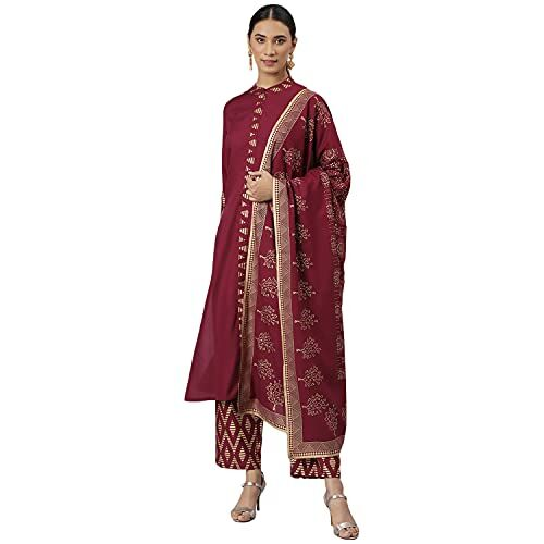 Khushal K Maroon Solid Kurta with Trousers & Dupatta for Women
