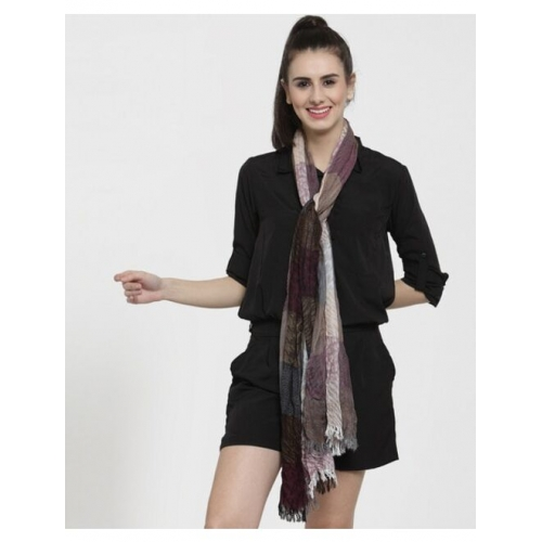 Checked Stole with Fringes