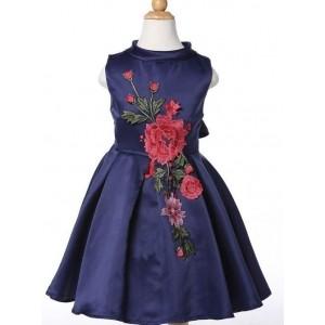 MeiQ Navy Blue Floral Design Party Dress