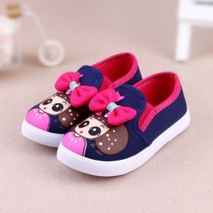 Peach Kids Girl Printed Slip-On Shoes With Bow Applique - Navy