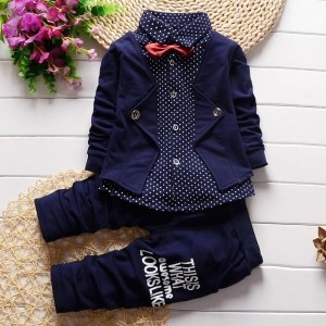 YXN Smarty Shirt With Jacket, Bow And Pant Set - Navy