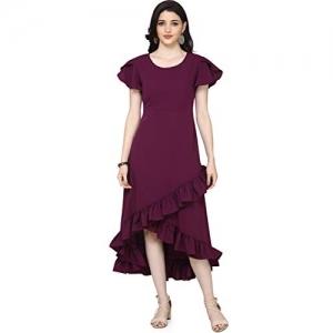 OOMPH! Purple Crepe Wrap Maxi Dress