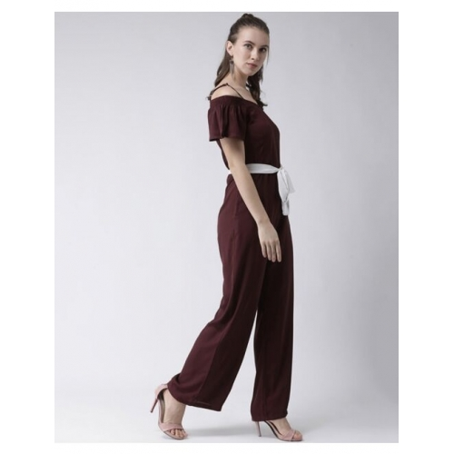 Short Sleeves Jumpsuit with Waist Tie-Up