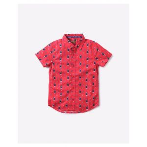 Printed Shirt with Spread Collar