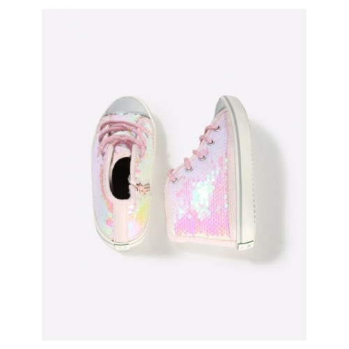 Sequinned Mid-Top Lace-Up Shoes