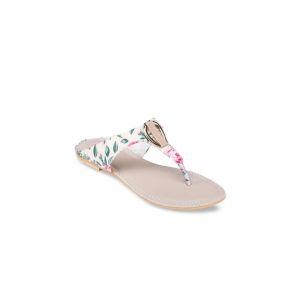 Leaf Pattern Slip-on Sandals