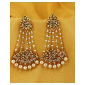 Sukkhi Stone Studded Danglers with Beaded Chains