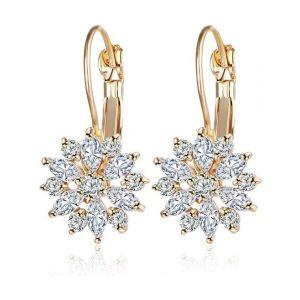 Shining Diva 18k Gold Plated AAA Diamonds Stylish Fancy Party Wear Cubic Zirconia Alloy Huggie Earring