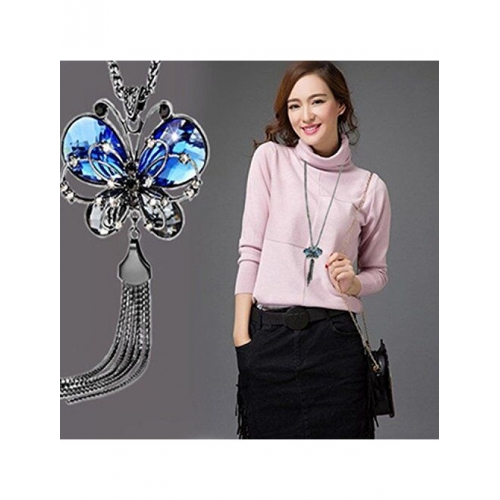 Yellow Chimes Western Stylish Collection Pearl Crystal Long Chain Pendant Necklace for Women and Girls
