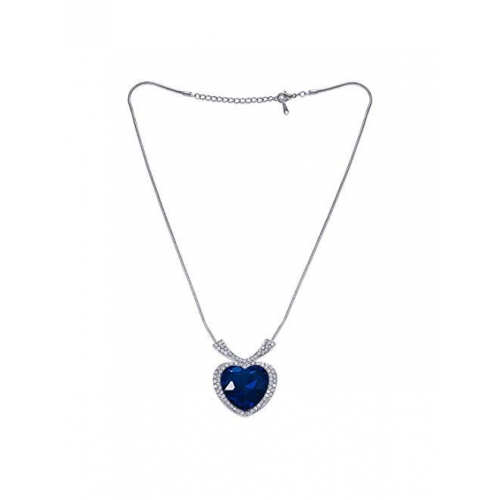 Peora Heart Shaped Ocean Blue Crystal Pendant for Women and Girls