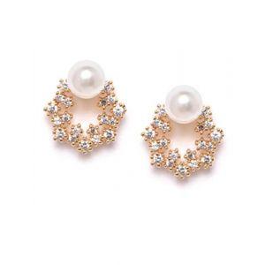 Zaveri Pearls Enchanting Gold Tone Floral Cubic Zirconia & Pearl Stud Earring For Women-ZPFK9456