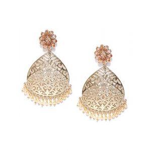 Zaveri Pearls Ethnic Drop Earrings for Women (Golden) (ZPFK6341)
