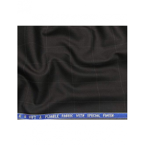 Raymond Men's Poly Viscose Unstitched Checks Suiting Fabric (Black)