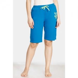 Zivame Doodle Cotton Shorts - Blue Indigo