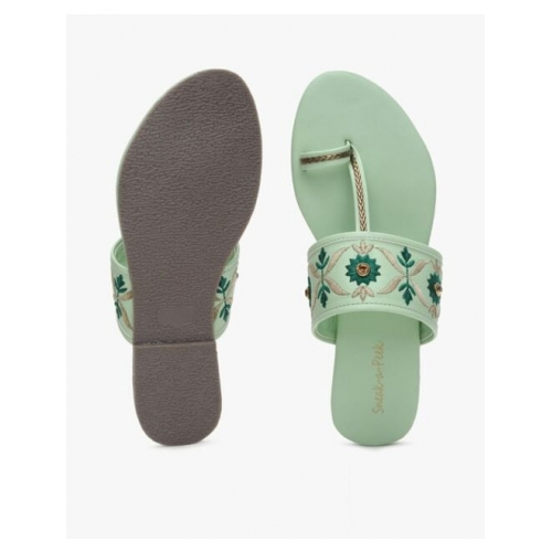 Embroidered Toe-Ring Flat Sandals