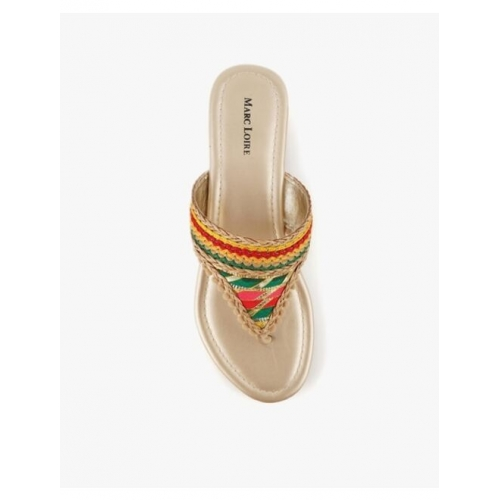 Printed T-Strap Open Flat Sandals
