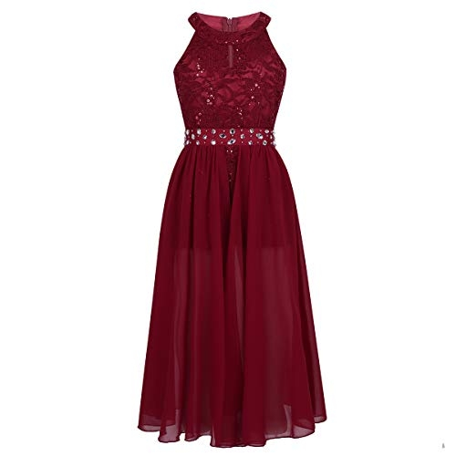 Ranrann Sleeveless Floral Lace Shiny Rhinestone Maxi Dress