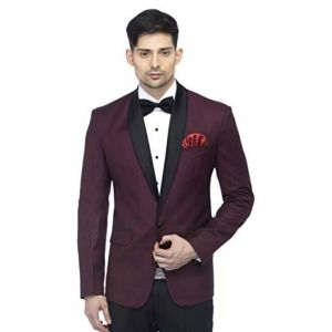FAVOROSKI Designer Men's Slim Italian Fit Shawl Collar Tuxedo Suit Blazer, Wine