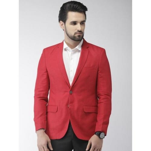 Raymond Solid Bandhgala Formal Men Blazer(Red)