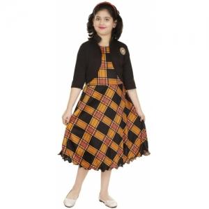 FTC FASHIONS Black,Yellow Cotton Blend Below Knee Party Dress