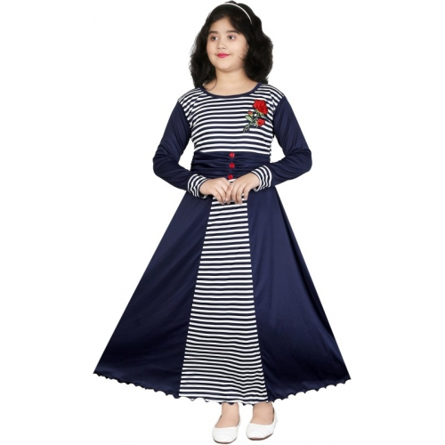 ULTRA TREND Blue Cotton Lycra Blend Round Neck Maxi/Full Length Party Dress