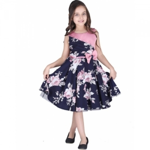 Cutecumber Dark Blue Round Neck Satin Blend, Poly Georgette Midi Knee Length Party Dress