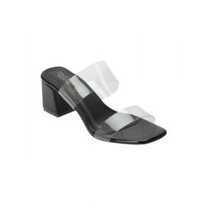 Truffle Collection black pu mules sandals