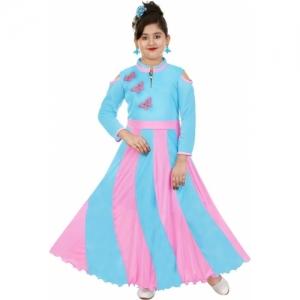 KAARIGARI Light Blue Polycotton Maxi Full Length Party Dress