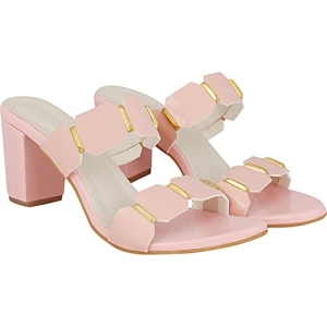 Do Bhai Women Dual-Strap Pink Colour Block Heeled Sandals