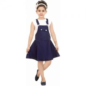 Smartbazar Blue Round Neck Cotton Rayon Blend Below Knee Casual Dress
