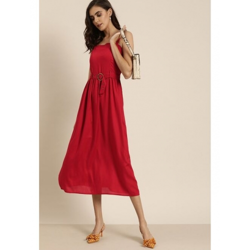 all about you Women Red Solid Fit and Flare Dress