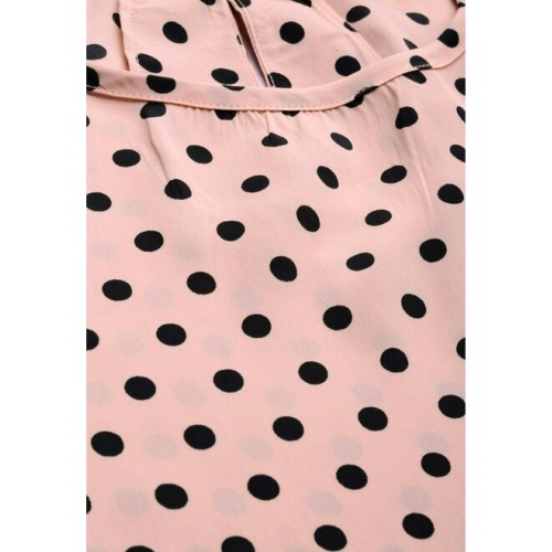 all about you Women Pink & Black Polka Dots Print Top