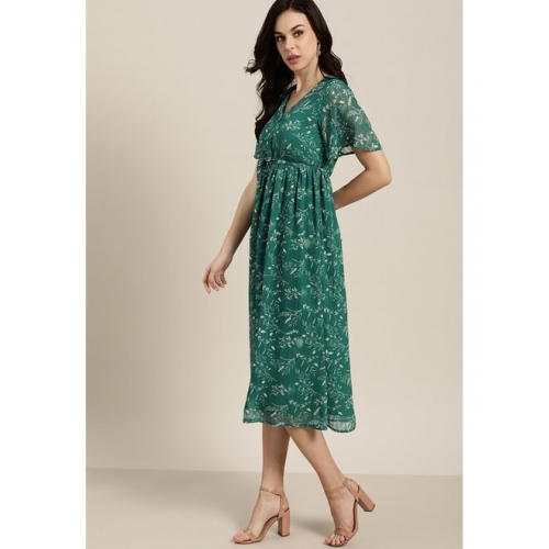 all about you Women Green & Off-White Printed A-Line Dress & Belt