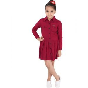 naughty ninos Girls Above Knee Casual Dress(Maroon, Full Sleeve)