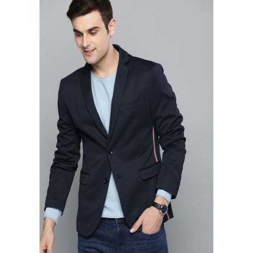 Mast & Harbour Navy Blue Regular Fit Single-Breasted Casual Blazer