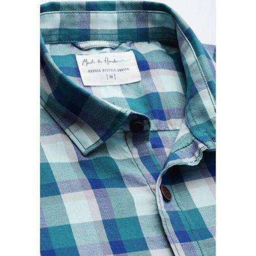 Mast & Harbour Men Green & Blue Regular Fit Checked Smart Casual Shirt