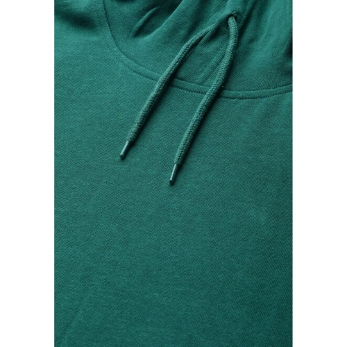 Mast & Harbour Men Green Pure Cotton Solid Hooded Sweatshirt with Colourblocked Detail