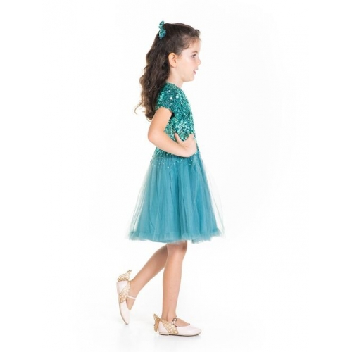 Cherry Crumble Girls Green Net Sequinned Fit & Flare Dress with Alligator Hairclip